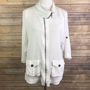 XCVI Mesh Zipper Front Cardigan Jacket